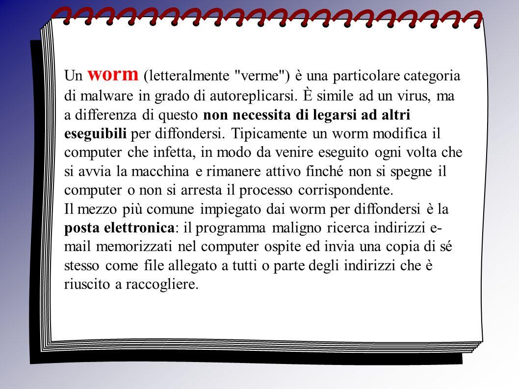 Un worm (letteralmente verme ) è una particolare categoria di malware in grado di autoreplicarsi.