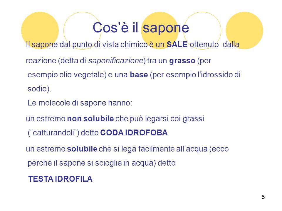 5 Cos'è il sapone Il sapone dal punto di vista chimico è un SALE ottenuto dalla reazione (detta di saponificazione) tra un grasso (per esempio olio ve
