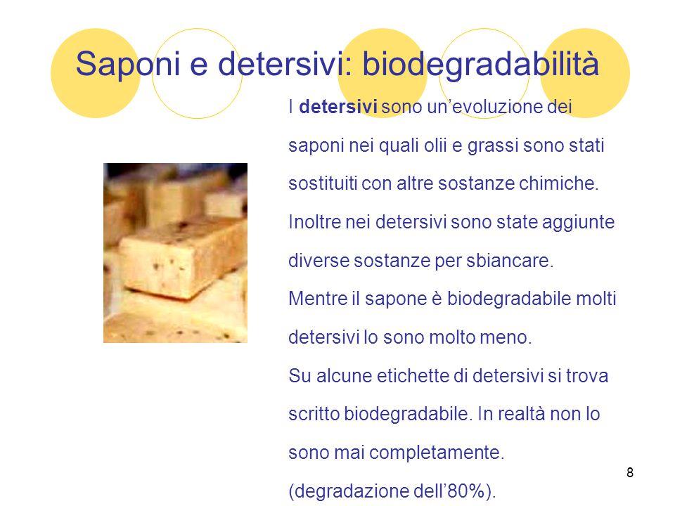 8 Saponi e detersivi: biodegradabilità I detersivi sono un'evoluzione dei saponi nei quali olii e grassi sono stati sostituiti con altre sostanze chim