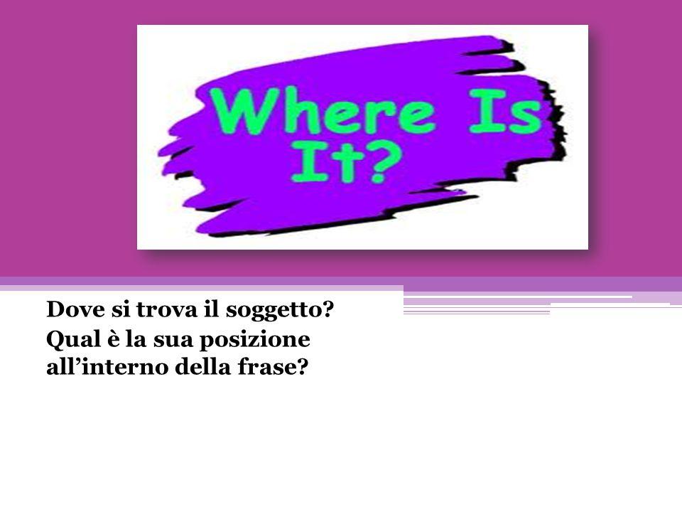 Dove si trova il soggetto? Qual è la sua posizione all'interno della frase?