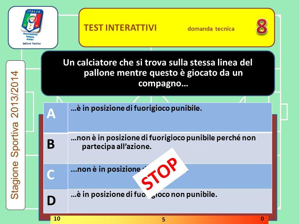 Settore Tecnico TEST INTERATTIVI domanda tecnica Il gioco pericoloso non prevede il contatto fisico tra i calciatori.