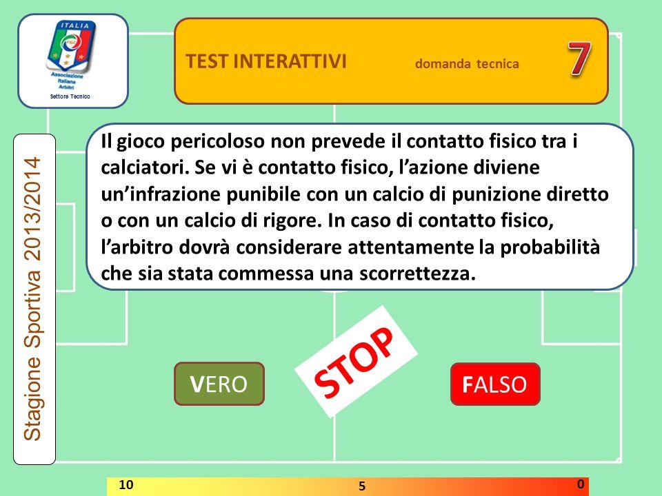 Settore Tecnico TEST INTERATTIVI domanda tecnica Nel corso della gara l'arbitro si accorge che l'equipaggiamento di un calciatore non è conforme a quanto previsto dalla regola 4.