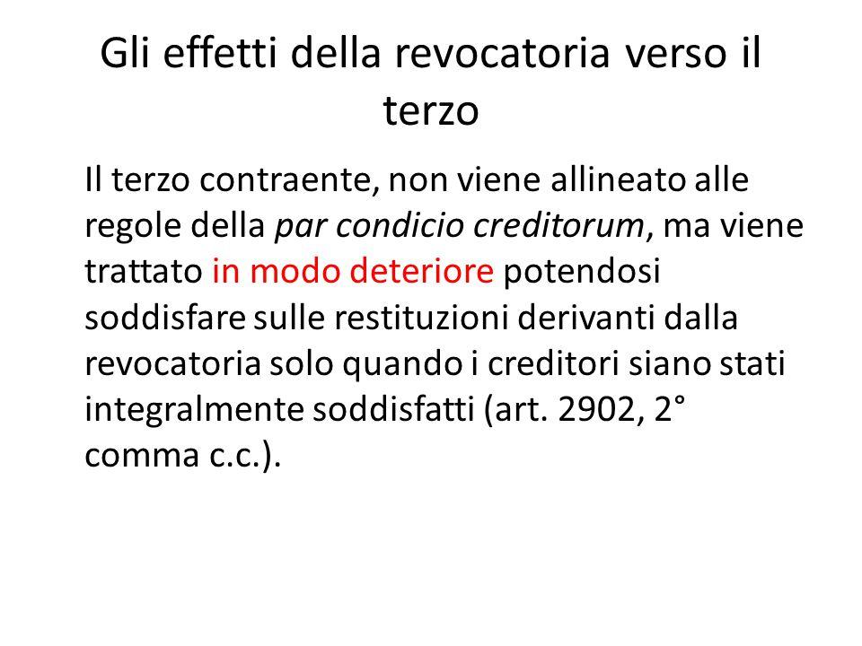 Gli effetti della revocatoria verso il terzo Il terzo contraente, non viene allineato alle regole della par condicio creditorum, ma viene trattato in
