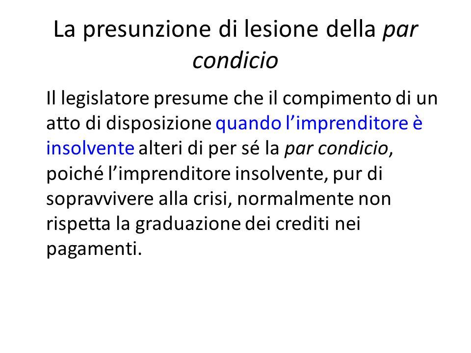 La presunzione di lesione della par condicio Il legislatore presume che il compimento di un atto di disposizione quando l'imprenditore è insolvente al