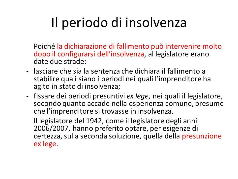 Il periodo di insolvenza Poiché la dichiarazione di fallimento può intervenire molto dopo il configurarsi dell'insolvenza, al legislatore erano date d