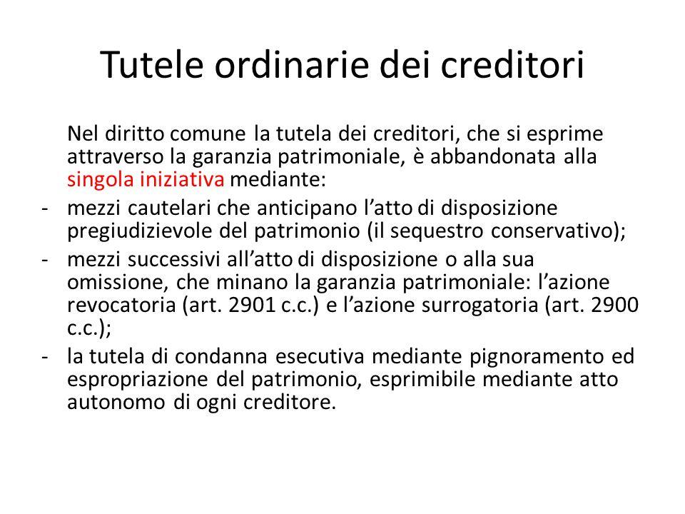 Tutele ordinarie dei creditori Nel diritto comune la tutela dei creditori, che si esprime attraverso la garanzia patrimoniale, è abbandonata alla sing