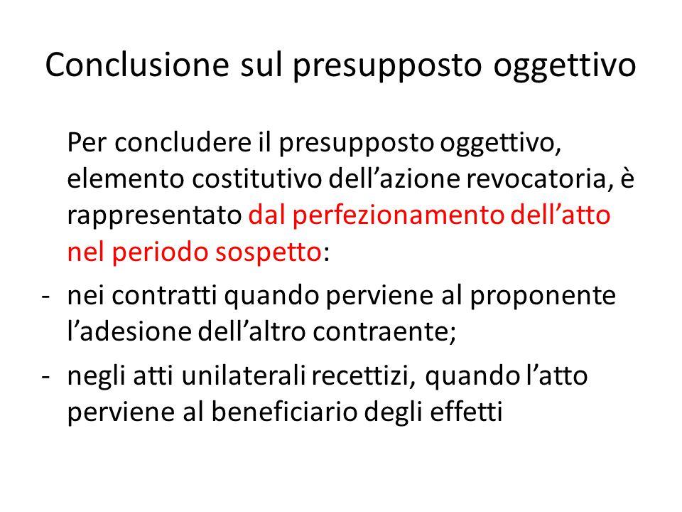 Conclusione sul presupposto oggettivo Per concludere il presupposto oggettivo, elemento costitutivo dell'azione revocatoria, è rappresentato dal perfe