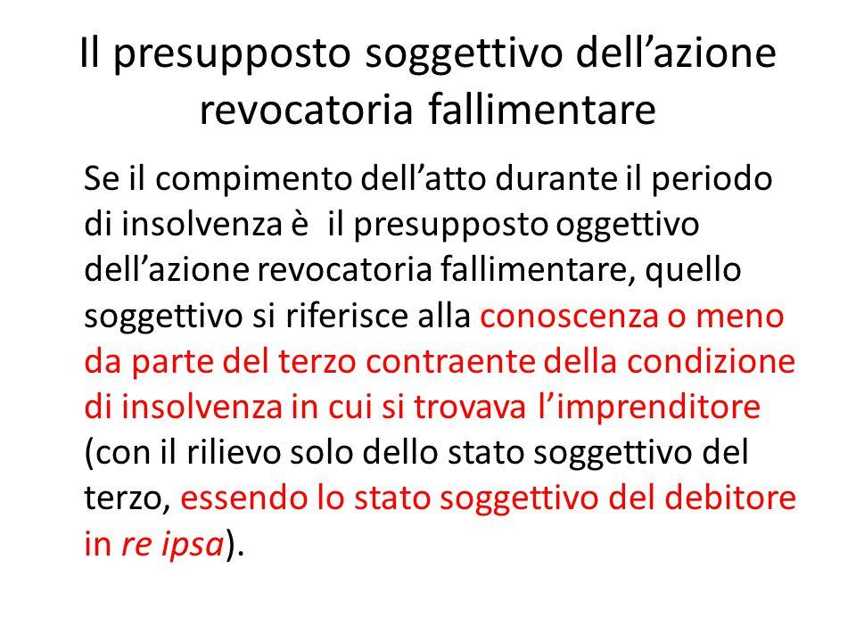 Il presupposto soggettivo dell'azione revocatoria fallimentare Se il compimento dell'atto durante il periodo di insolvenza è il presupposto oggettivo