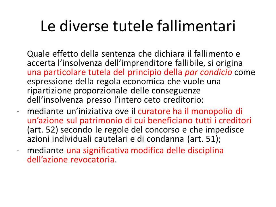 Le diverse tutele fallimentari Quale effetto della sentenza che dichiara il fallimento e accerta l'insolvenza dell'imprenditore fallibile, si origina