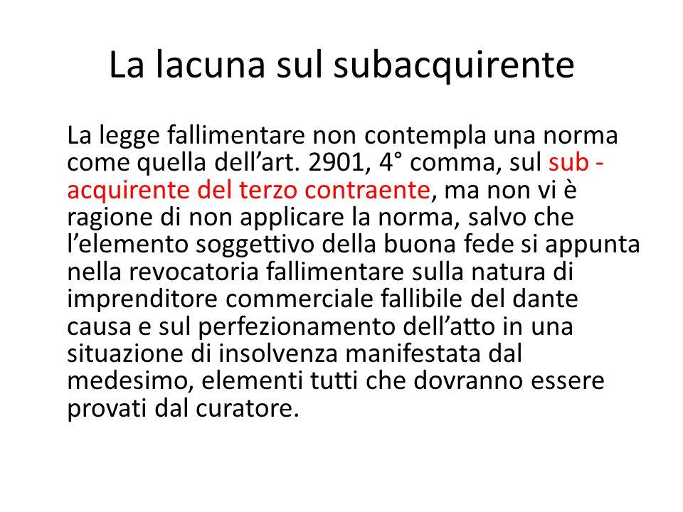 La lacuna sul subacquirente La legge fallimentare non contempla una norma come quella dell'art. 2901, 4° comma, sul sub - acquirente del terzo contrae