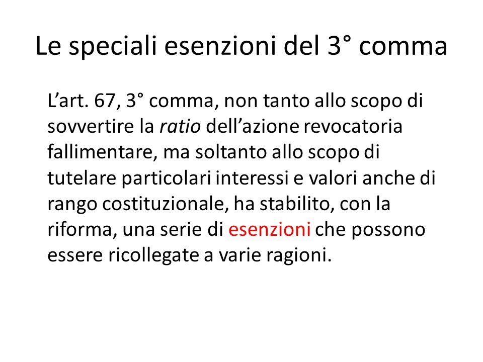 Le speciali esenzioni del 3° comma L'art. 67, 3° comma, non tanto allo scopo di sovvertire la ratio dell'azione revocatoria fallimentare, ma soltanto