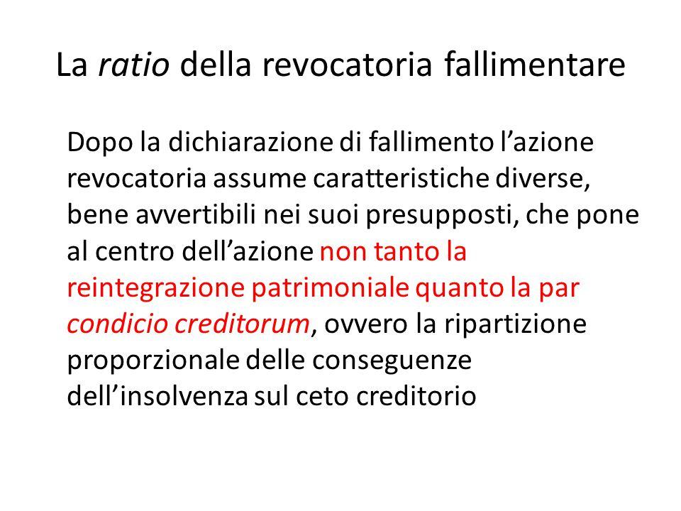 La ratio della revocatoria fallimentare Dopo la dichiarazione di fallimento l'azione revocatoria assume caratteristiche diverse, bene avvertibili nei