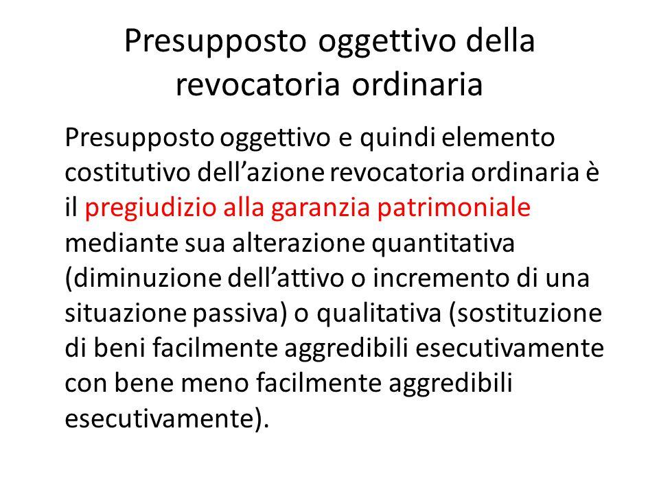 Presupposto oggettivo della revocatoria ordinaria Presupposto oggettivo e quindi elemento costitutivo dell'azione revocatoria ordinaria è il pregiudiz
