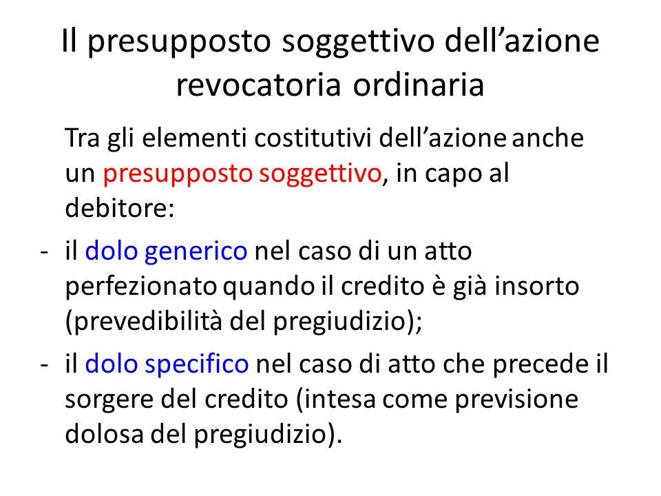 Il presupposto soggettivo dell'azione revocatoria ordinaria Tra gli elementi costitutivi dell'azione anche un presupposto soggettivo, in capo al debit