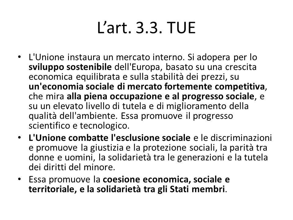 L'art. 3.3. TUE L'Unione instaura un mercato interno. Si adopera per lo sviluppo sostenibile dell'Europa, basato su una crescita economica equilibrata