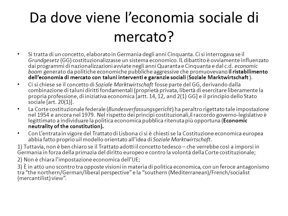 Da dove viene l'economia sociale di mercato? Si tratta di un concetto, elaborato in Germania degli anni Cinquanta. Ci si interrogava se il Grundgesetz