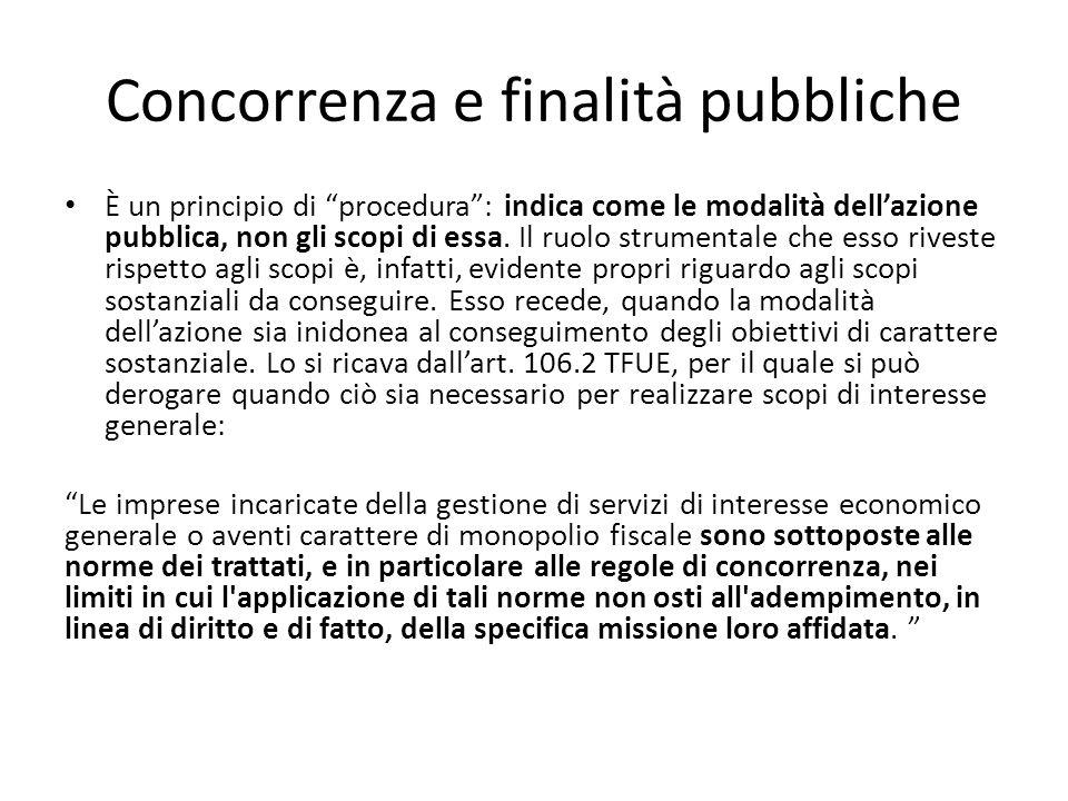 """Concorrenza e finalità pubbliche È un principio di """"procedura"""": indica come le modalità dell'azione pubblica, non gli scopi di essa. Il ruolo strument"""