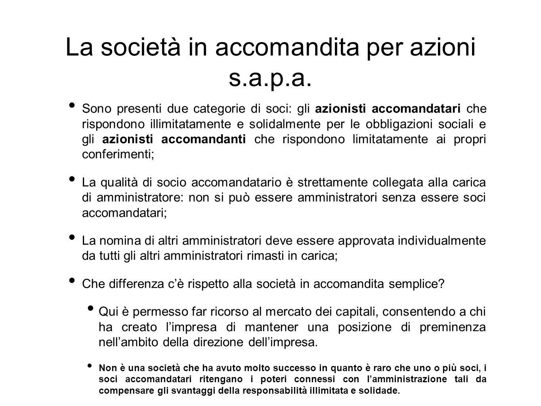 La società in accomandita per azioni s.a.p.a.