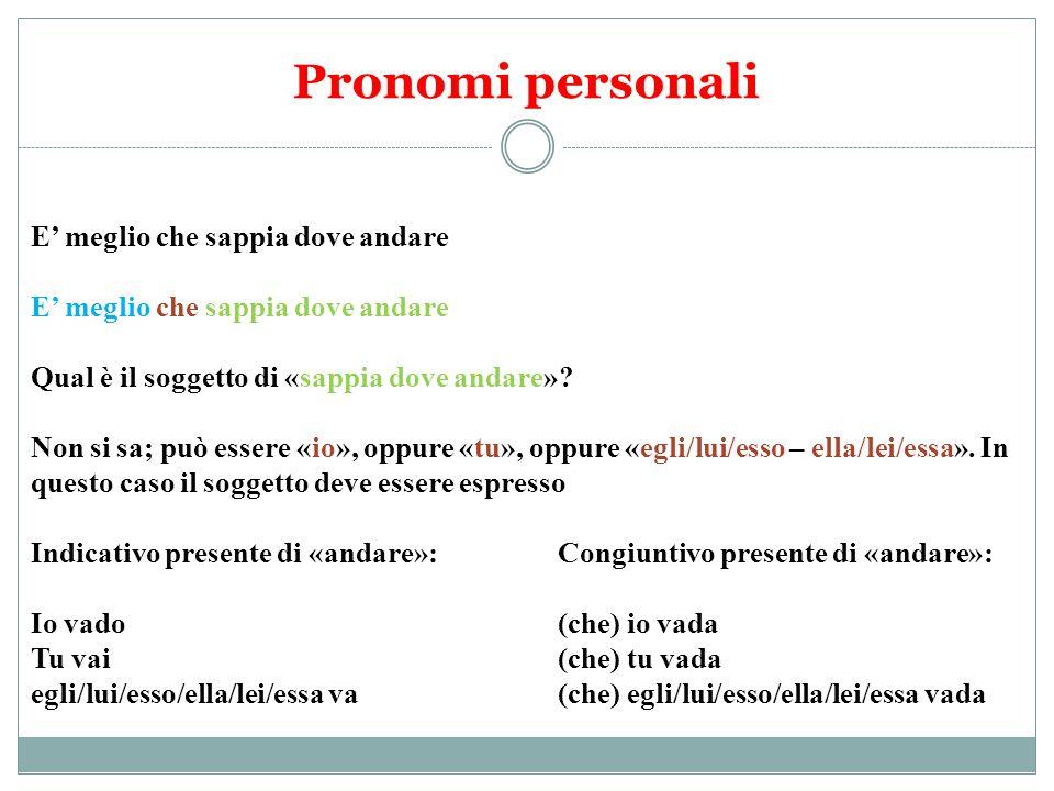 Pronomi personali E' meglio che sappia dove andare Qual è il soggetto di «sappia dove andare»? Non si sa; può essere «io», oppure «tu», oppure «egli/l