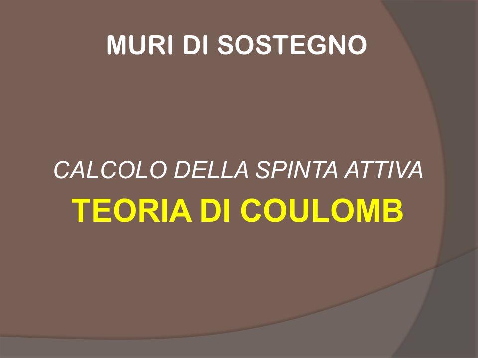 CALCOLO DELLA SPINTA ATTIVA TEORIA DI COULOMB