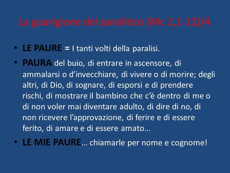 La guarigione del paralitico (Mc 2,1-12)/4 LE PAURE = I tanti volti della paralisi. PAURA del buio, di entrare in ascensore, di ammalarsi o d'invecchi