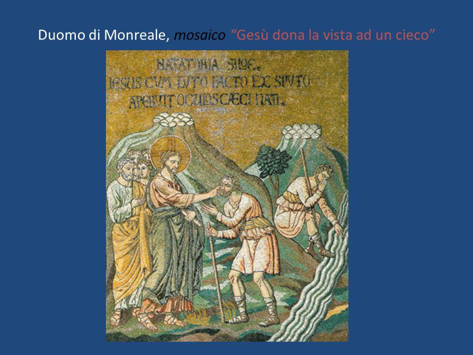 "Duomo di Monreale, mosaico ""Gesù dona la vista ad un cieco"""