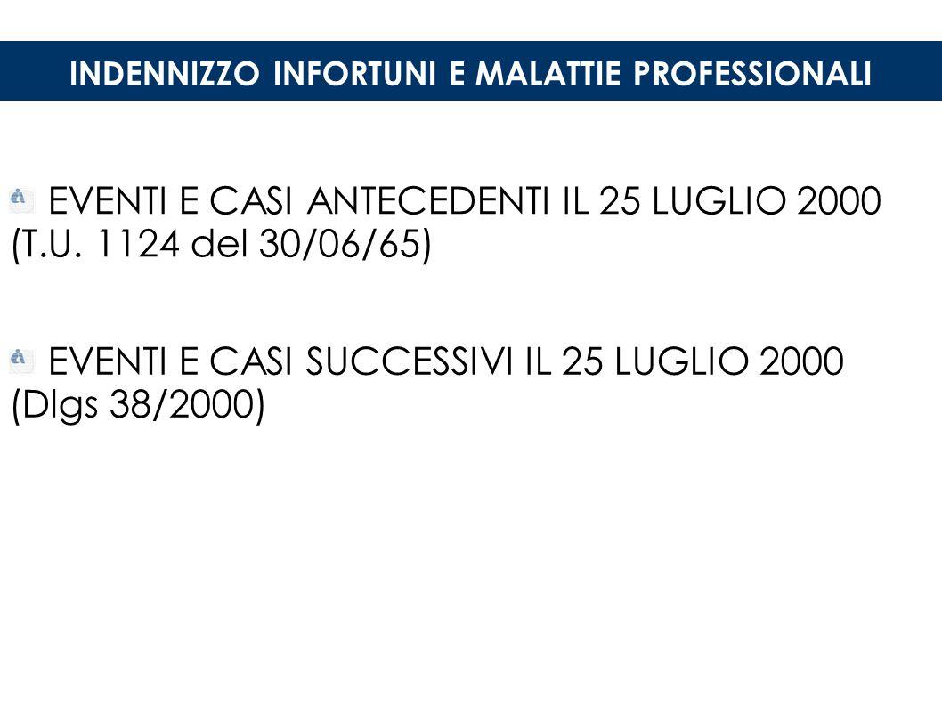 INDENNIZZO INFORTUNI E MALATTIE PROFESSIONALI EVENTI E CASI ANTECEDENTI IL 25 LUGLIO 2000 (T.U.