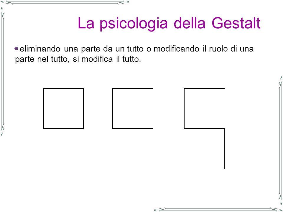La psicologia della Gestalt eliminando una parte da un tutto o modificando il ruolo di una parte nel tutto, si modifica il tutto.