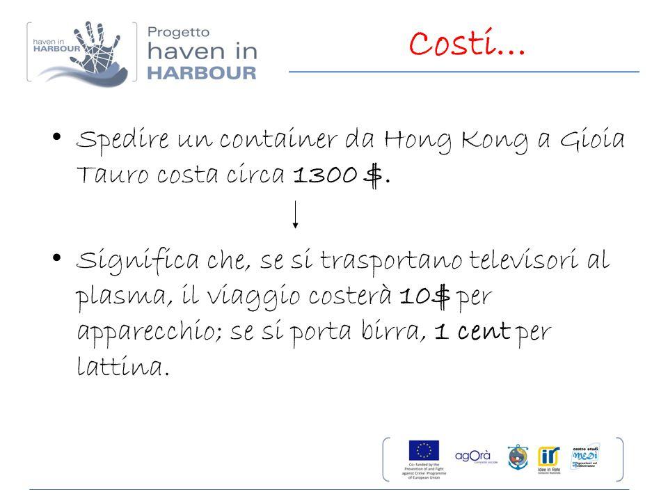 Costi… Spedire un container da Hong Kong a Gioia Tauro costa circa 1300 $. Significa che, se si trasportano televisori al plasma, il viaggio costerà 1