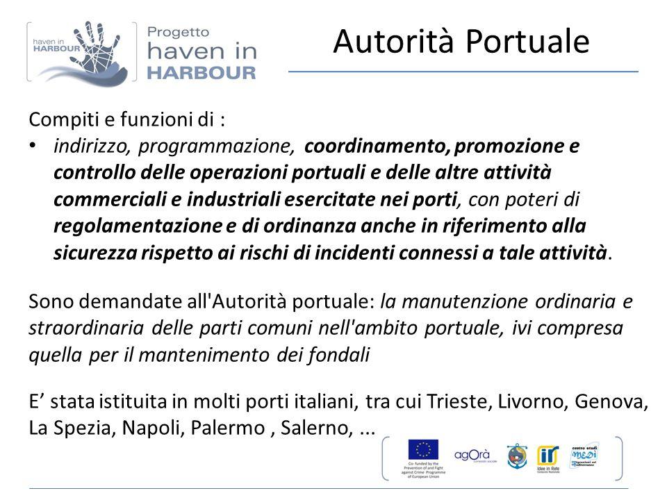Compiti e funzioni di : indirizzo, programmazione, coordinamento, promozione e controllo delle operazioni portuali e delle altre attività commerciali