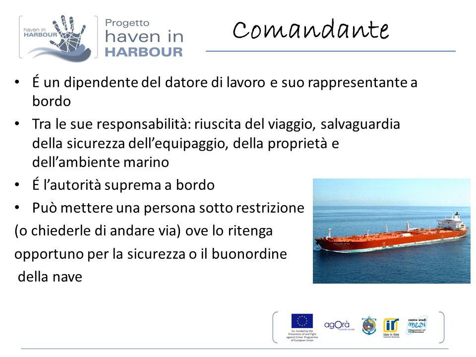 Comandante É un dipendente del datore di lavoro e suo rappresentante a bordo Tra le sue responsabilità: riuscita del viaggio, salvaguardia della sicur