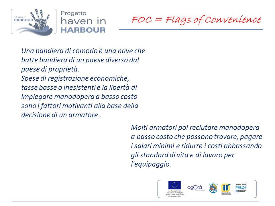 Una bandiera di comodo è una nave che batte bandiera di un paese diverso dal paese di proprietà. Spese di registrazione economiche, tasse basse o ines