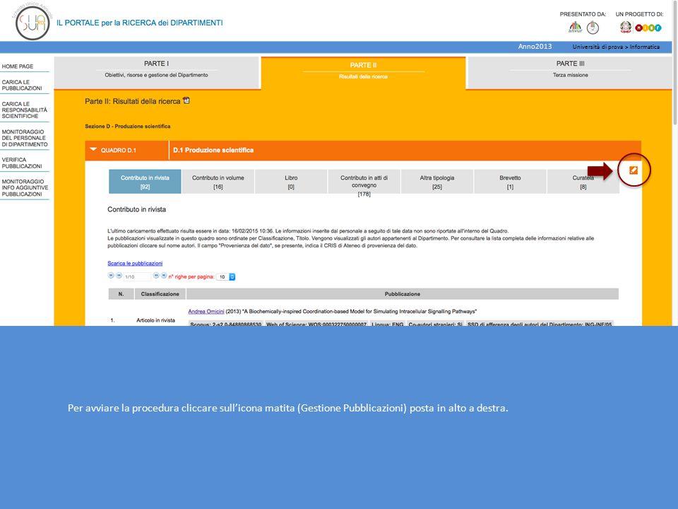 Per continuare la procedura cliccare su procedi Università di prova > Informatica Anno2013