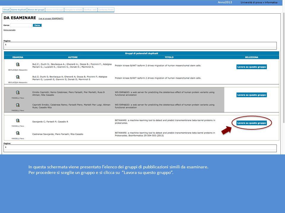 In questa schermata viene presentato l'elenco dei gruppi di pubblicazioni simili da esaminare.