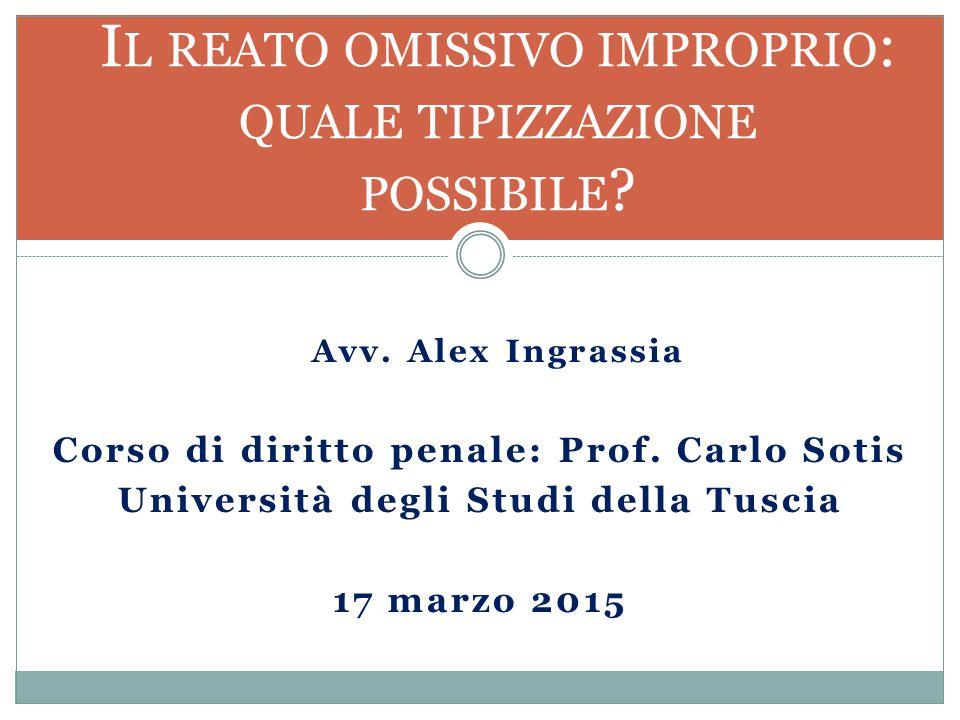 Avv.Alex Ingrassia Corso di diritto penale: Prof.