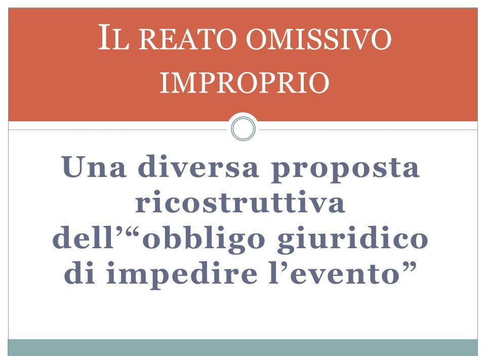 Una diversa proposta ricostruttiva dell' obbligo giuridico di impedire l'evento I L REATO OMISSIVO IMPROPRIO