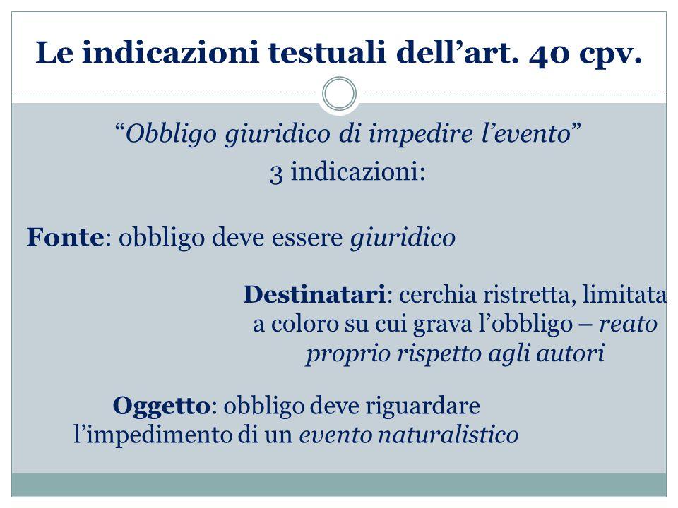 Le indicazioni testuali dell'art.40 cpv.