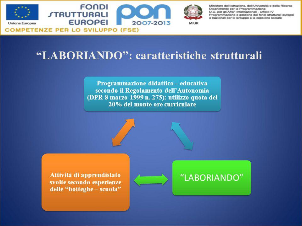LABORIANDO : caratteristiche strutturali Programmazione didattico – educativa secondo il Regolamento dell'Autonomia (DPR 8 marzo 1999 n.