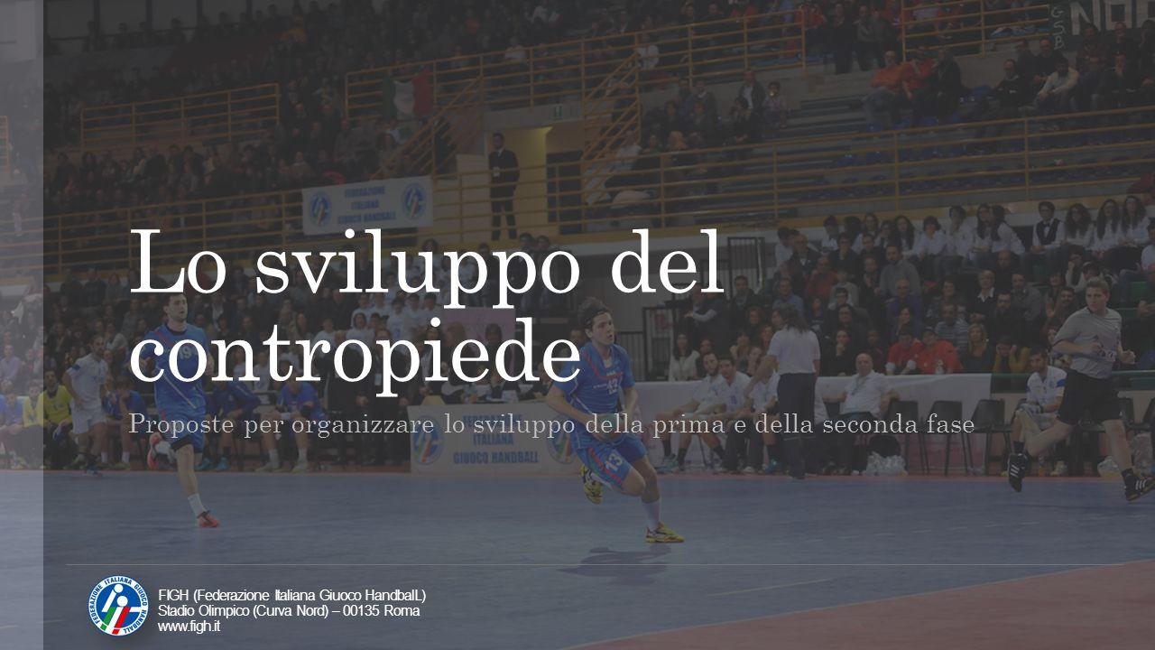 Lo sviluppo del contropiede Proposte per organizzare lo sviluppo della prima e della seconda fase FIGH (Federazione Italiana Giuoco HandbalL) Stadio O