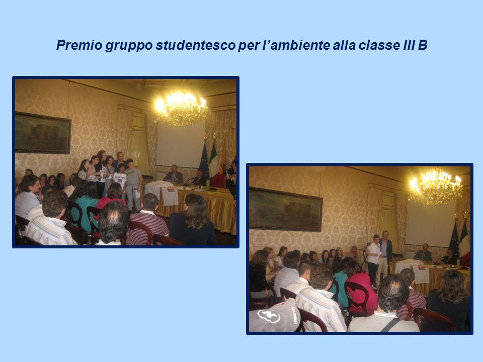 Premio gruppo studentesco per l'ambiente alla classe III B