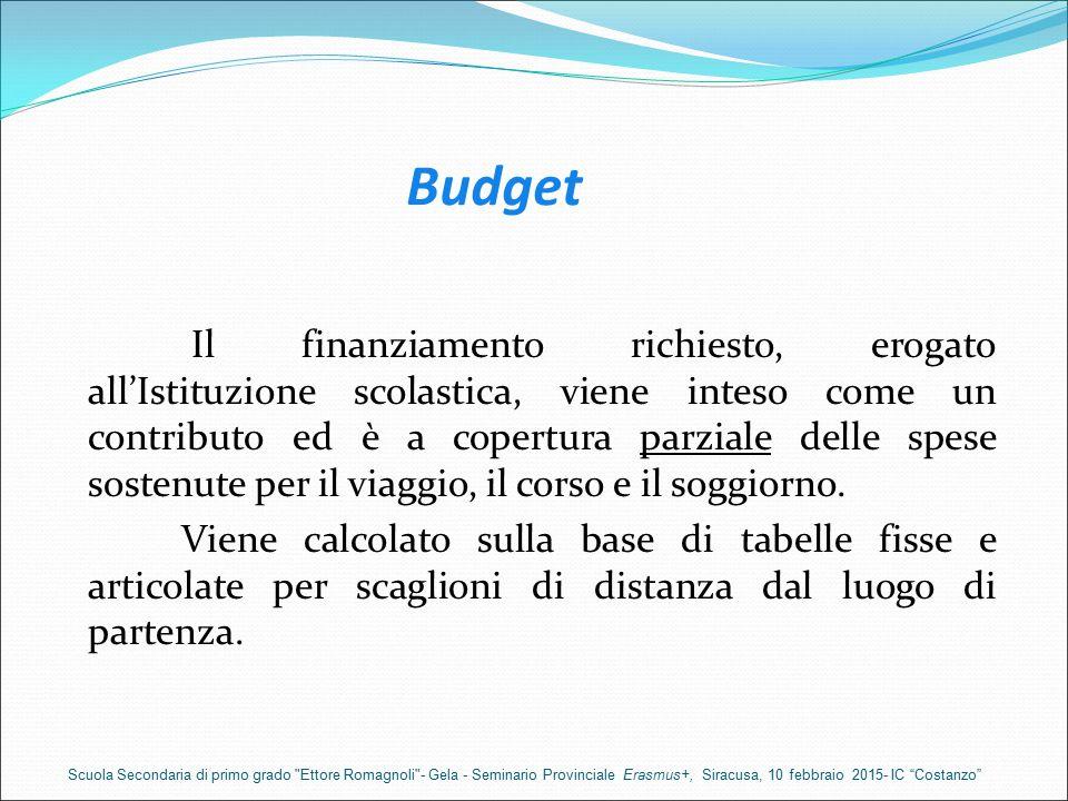 Budget Il finanziamento richiesto, erogato all'Istituzione scolastica, viene inteso come un contributo ed è a copertura parziale delle spese sostenute per il viaggio, il corso e il soggiorno.