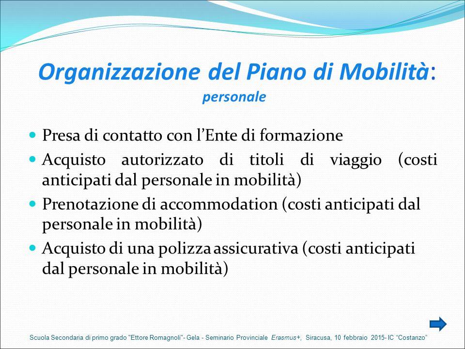 Organizzazione del Piano di Mobilità : personale Presa di contatto con l'Ente di formazione Acquisto autorizzato di titoli di viaggio (costi anticipat