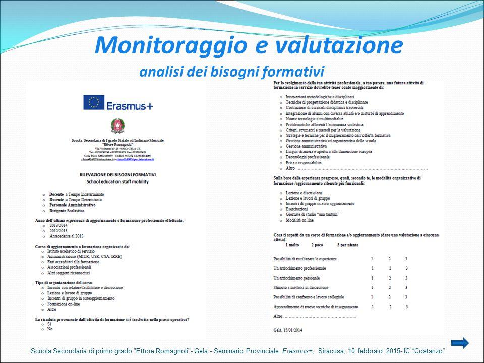 Monitoraggio e valutazione analisi dei bisogni formativi Scuola Secondaria di primo grado