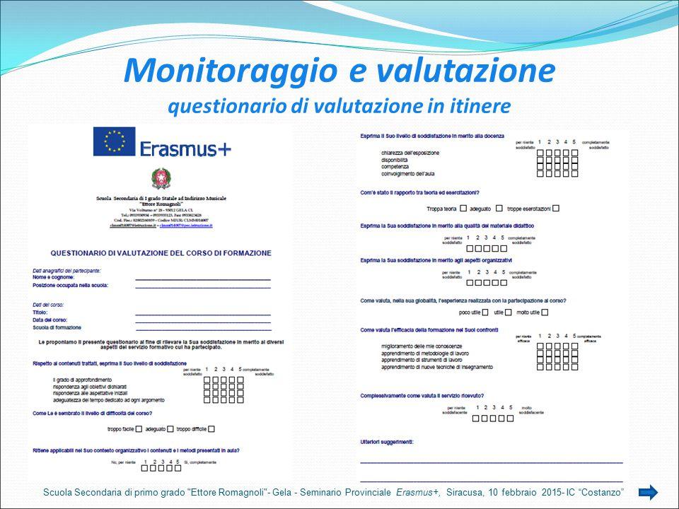 Monitoraggio e valutazione questionario di valutazione in itinere Scuola Secondaria di primo grado