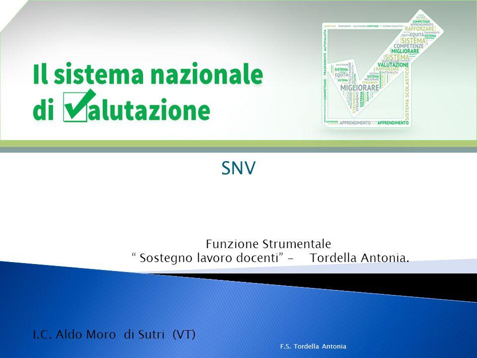 """SNV Funzione Strumentale """" Sostegno lavoro docenti"""" - Tordella Antonia. F.S. Tordella Antonia I.C. Aldo Moro di Sutri (VT)"""