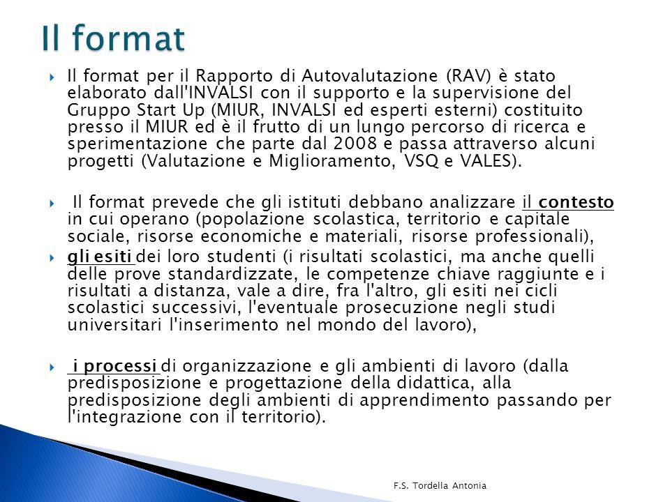  Il format per il Rapporto di Autovalutazione (RAV) è stato elaborato dall'INVALSI con il supporto e la supervisione del Gruppo Start Up (MIUR, INVAL