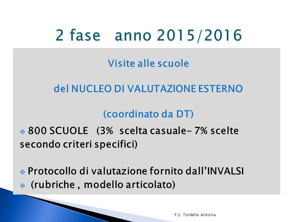 Visite alle scuole del NUCLEO DI VALUTAZIONE ESTERNO (coordinato da DT)  800 SCUOLE (3% scelta casuale- 7% scelte secondo criteri specifici)  Protoc