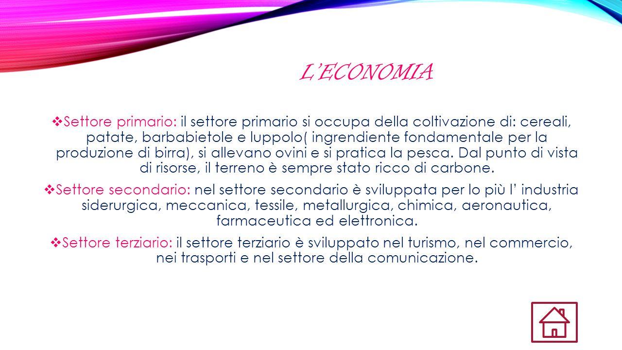 L'ECONOMIA  Settore primario: il settore primario si occupa della coltivazione di: cereali, patate, barbabietole e luppolo( ingrendiente fondamentale
