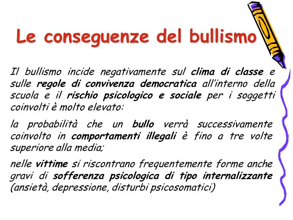 Le conseguenze del bullismo Il bullismo incide negativamente sul clima di classe e sulle regole di convivenza democratica all'interno della scuola e i