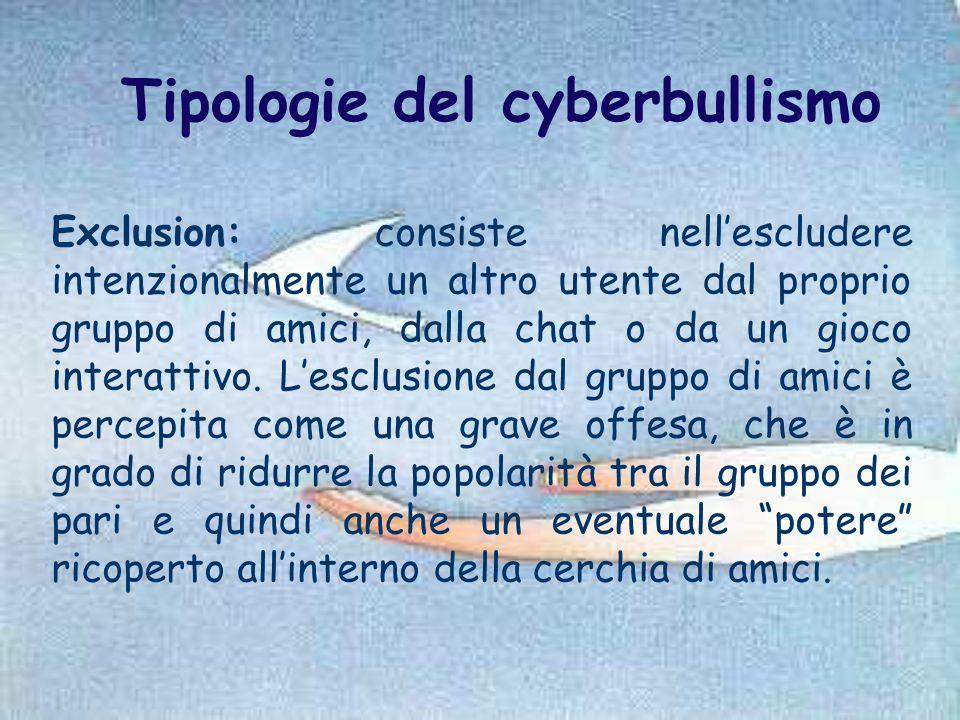 Tipologie del cyberbullismo Exclusion: consiste nell'escludere intenzionalmente un altro utente dal proprio gruppo di amici, dalla chat o da un gioco